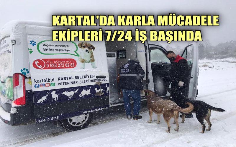 Kartal Belediyesi'nin karla mücadelede ekipleri 7/24 iş başında