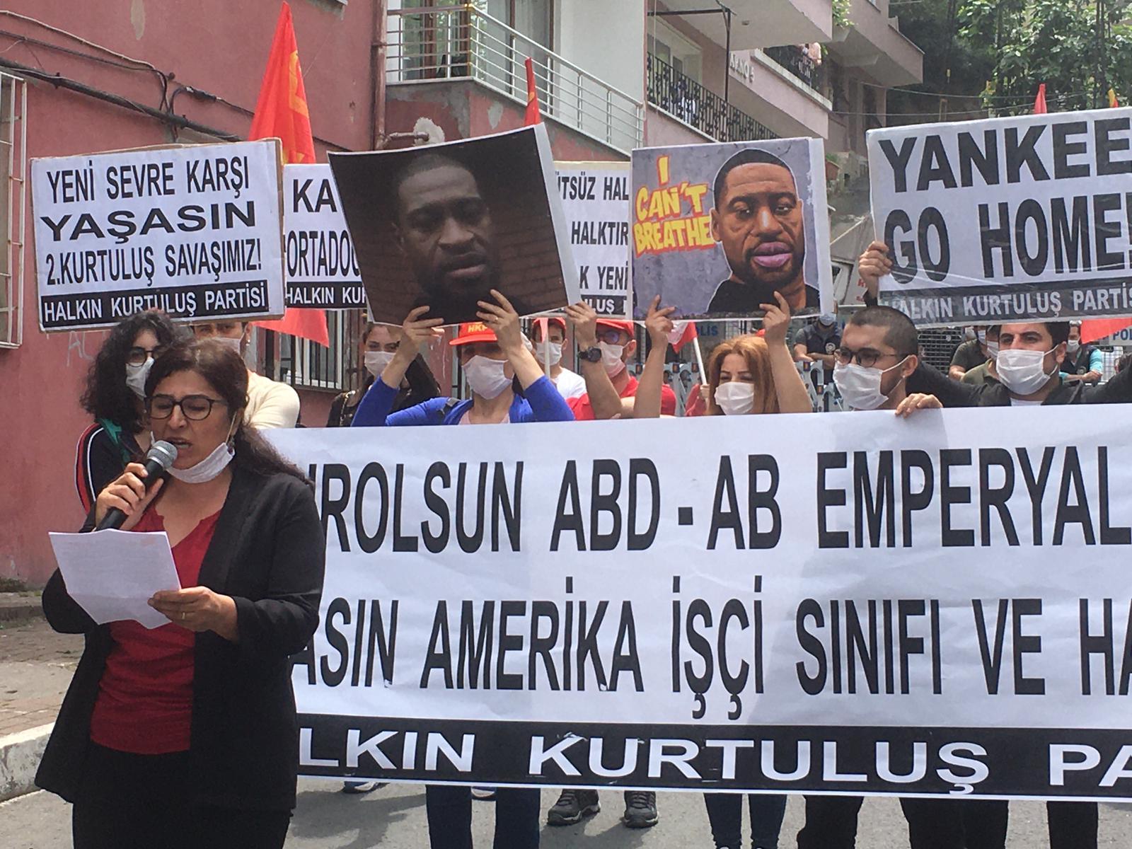 ABD Başkonsolosluğu önünde George Floyd'un öldürülmesi protesto edildi