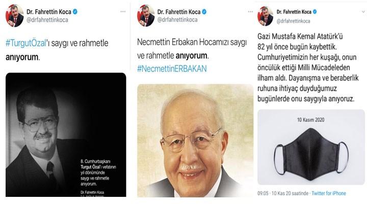 Bakan Fahrettin Koca'nın Atatürk paylaşımı tepki gördü