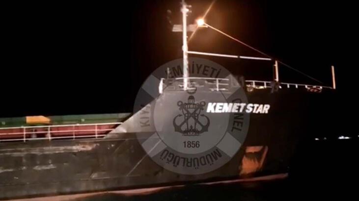 Bozcaada açıklarında gemi karaya oturdu