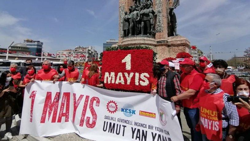 DİSK, KESK, TMMOB ve TTB 1 Mayıs'ta Taksim'de buluştu