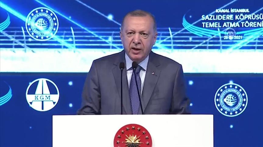 Erdoğan, Kanal İstanbul'un temel atma töreninde muhalefete yüklendi: Söke söke sizden bu paraları alırlar