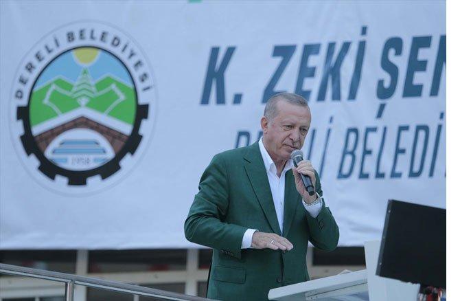 Erdoğan, sel felaketinin yaşandığı Giresun'da konuşuyor