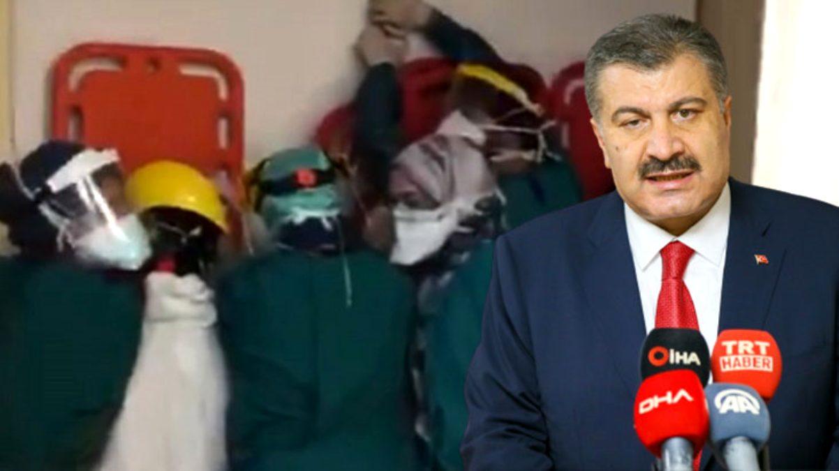 Fahrettin Koca, saldırıya karşı barikat kuran sağlık çalışanlarını dinledi