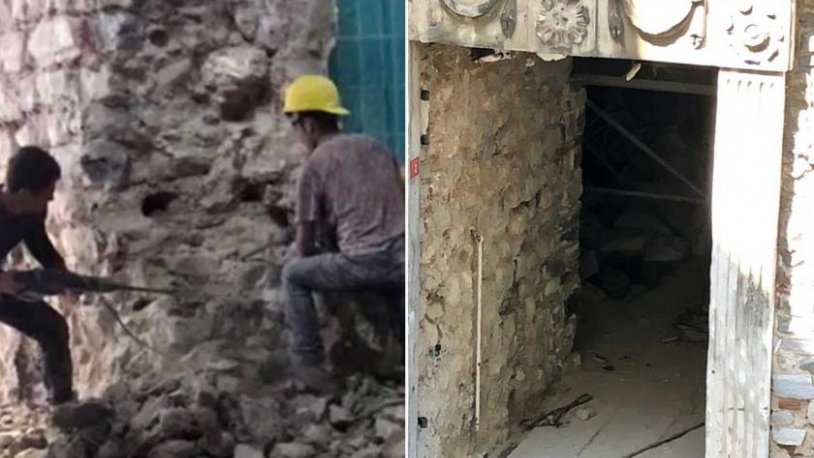 Galata Kulesi'nin yıkılan duvarı yeniden örüldü