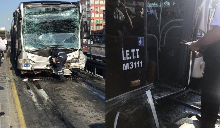 İstanbul'da iki metrobüs çarpıştı: 24 yaralı