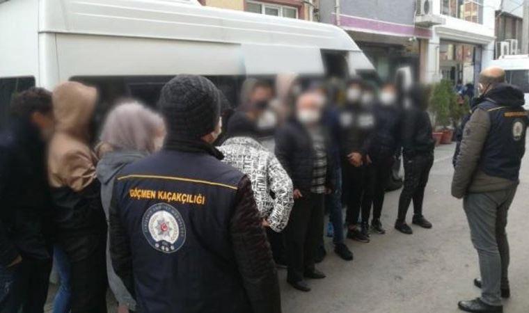 İzmir'de bağ evinde 124 sığınmacı yakalandı