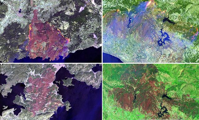 Manavgat, Marmaris ve Milas yangınları uydudan böyle görüntülendi