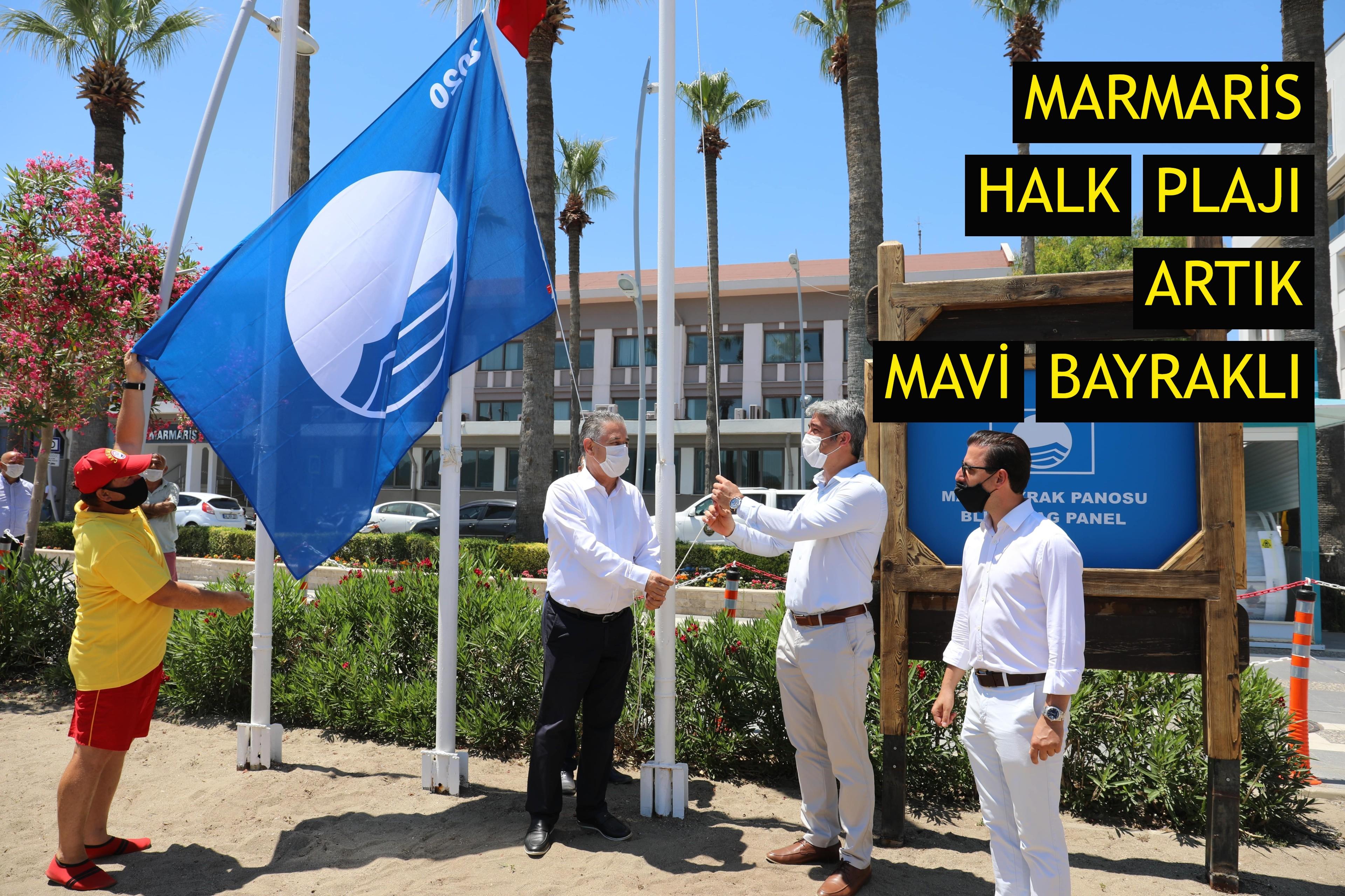 Marmaris Halk Plajı artık Mavi Bayraklı