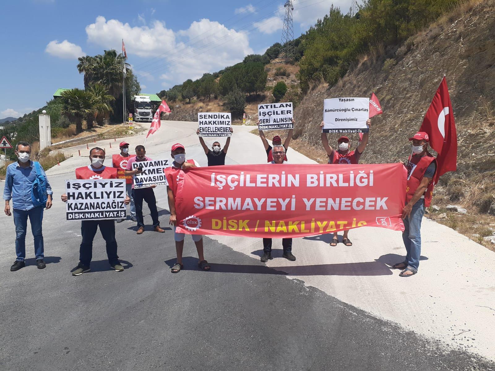 Milas'ta yasadışı olarak işten çıkarılan işçiler direnişte