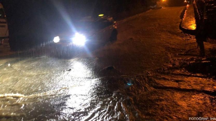 Rize'de bazı evleri ve iş yerlerini su bastı