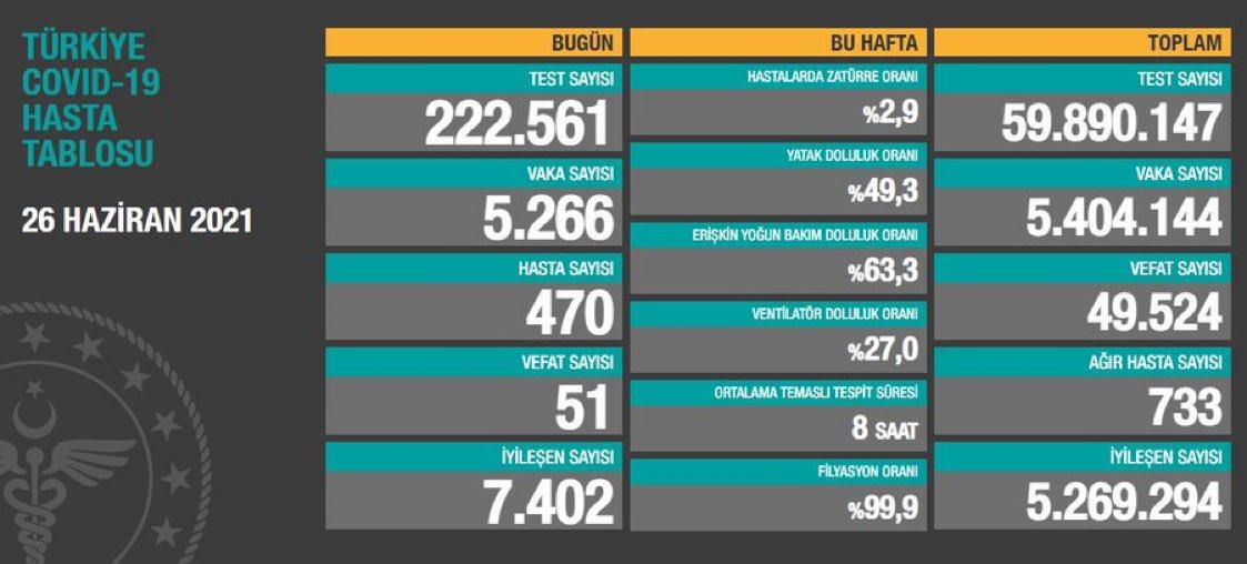 Son 24 saatte koronavirüsten 51 kişi daha hayatını kaybetti