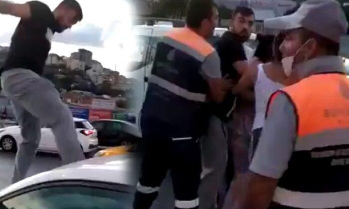 Trafikte kadın sürücüye saldıran kişi gözaltına alındı