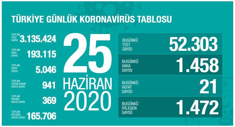 Türkiye'de koronavirüs nedeniyle hayatını kaybedenlerin sayısı 5 bin 46'ya yükseldi