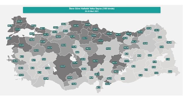 Türkiye'nin vaka haritası güncellendi