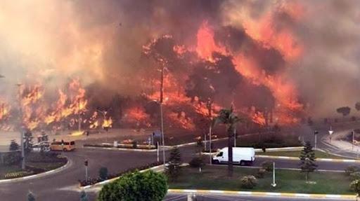 Yangının tehdit etttiği Manavgat Devlet Hastanesi tahliye ediliyor